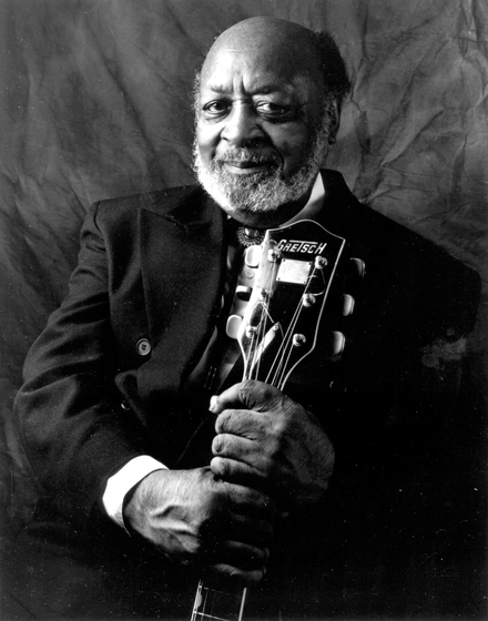 Robert Jr. Lockwood was inspired by the music of Mississippi Delta bluesman Robert Johnson. Lockwood became a skilled guitarist whose music combined elements of blues and jazz. Photograph by James Fraher, courtesy National Endowment for the Arts