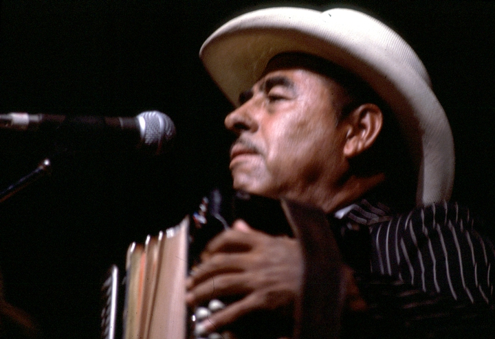 *Conjunto* accordionist and singer Valerio Longoria was an innovator who modified his instruments to broaden their sound and introduced drums into the traditional Texas-Mexican ensemble. 1986 National Heritage Fellowship Ceremonies, courtesy National Endowment for the Arts