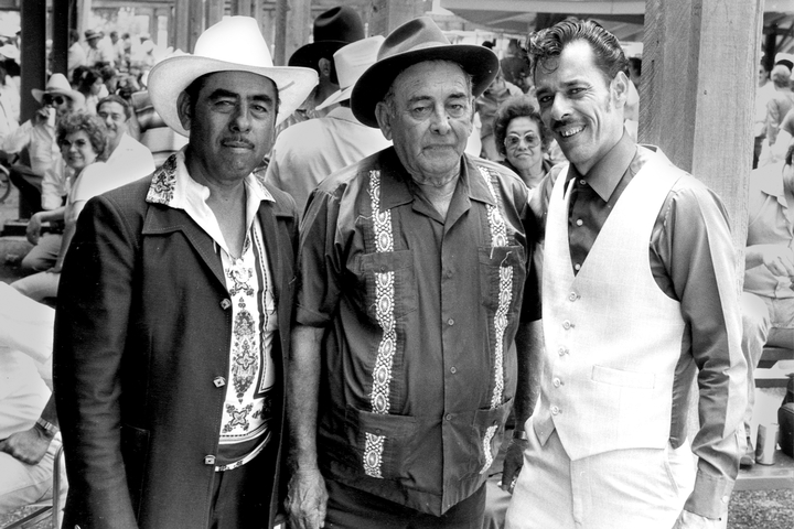 From left: Valerio Longoria, Narciso Martínez and Santiago Jiménez, Jr. Photograph by Chris Strachwitz/Arhoolie Records