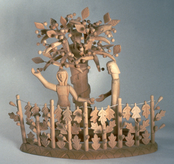 """Tree of Life"" by George López, carved cottonwood, 21"" x 26"", ca. 1950. Photograph by Michel Monteaux, courtesy Museum of International Folk Art (a unit of the Museum of New Mexico)"