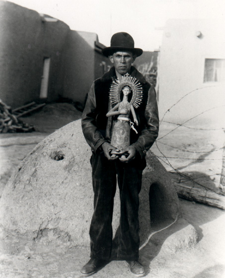 Hispanic American artisan George López began carving *santos* (saints) to pass the long, lonely nights between railroad jobs. He devoted the last four decades of his life to full-time wood carving at his home in Córdova, New Mexico. Photograph by T. Harmon Parkhurst, courtesy Museum of New Mexico, Santa Fe