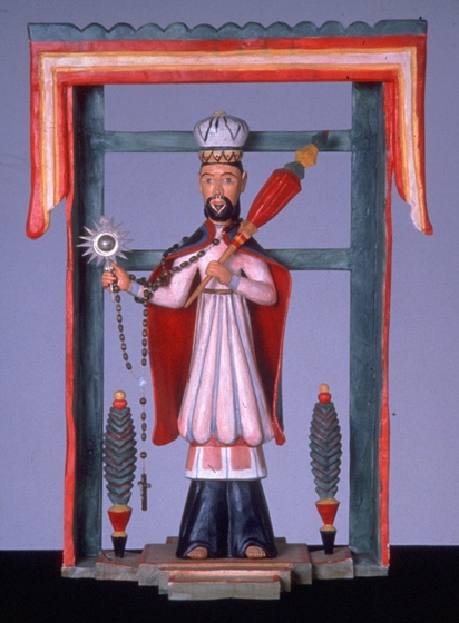 'San Ramon Nonato' (Patron Saint of Midwives and Childbirth) by Ramón José López, hand-adzed and carved aspen, gesso, polychrome, 1986, courtesy National Endowment for the Arts