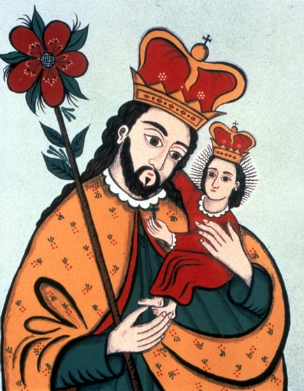'San Jose y Santo Niño' (St. Joseph and the Christ Child), lithograph by Ramón José López, featured in the exhibit entitled 'Seis Santeros,' at the Tamarind Institute in New Mexico, courtesy National Endowment for the Arts