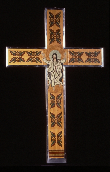 Large sterling cross (back of 'Ascension' — large sterling cross with mica glazing) by Ramón José López, 20' wide x 32' high x 2' tall, courtesy National Endowment for the Arts