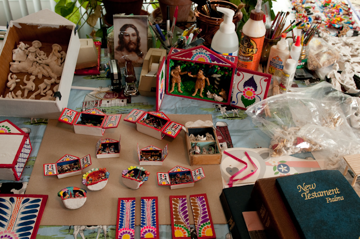 Jeronimo E. Lozano's supplies for making *retablos* in his apartment, Salt Lake City, Utah, 2009, photograph by Alan Govenar