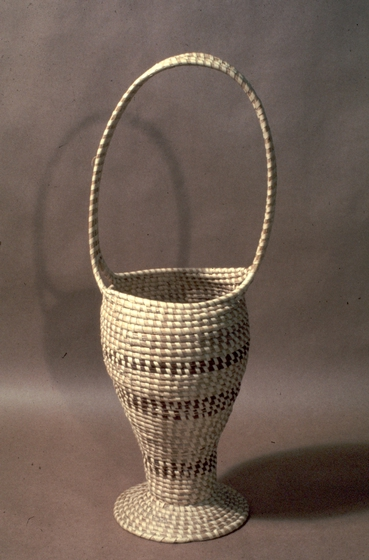 Basket by Mary Jane Manigault, coiled sweetgrass with palmetto and pine needles, courtesy National Endowment for the Arts