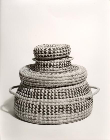 Mary Jane Manigault's double basket, photograph by Will Barnes, ca. 1985, courtesy Folklife Resource Center, McKissick Museum, University of South Carolina, Columbia, South Carolina