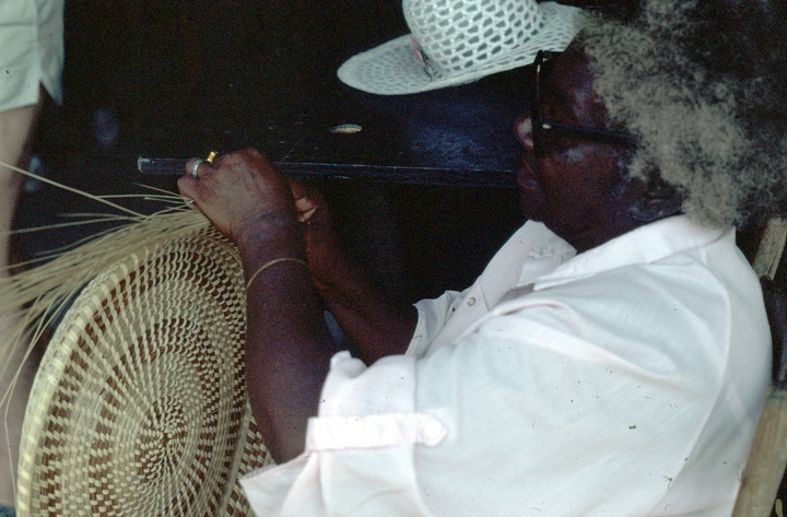 Mary Jane Manigault making one of her baskets, courtesy National Endowment for the Arts