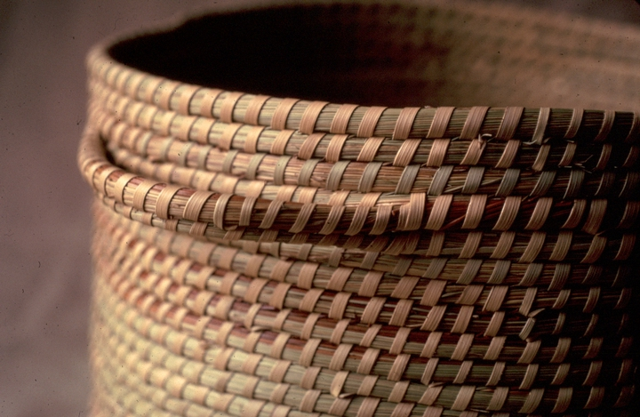 Basket (detail) by Mary Jane Manigault, coiled sweetgrass with palmetto and pine needles, courtesy National Endowment for the Arts