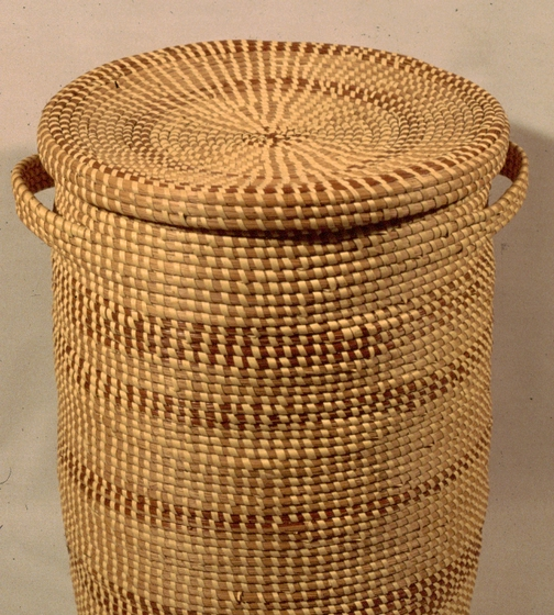 Large storage basket by Mary Jane Manigault, coiled sweetgrass with palmetto and pine needles, 1977, photograph by Mary Twining, courtesy National Endowment for the Arts