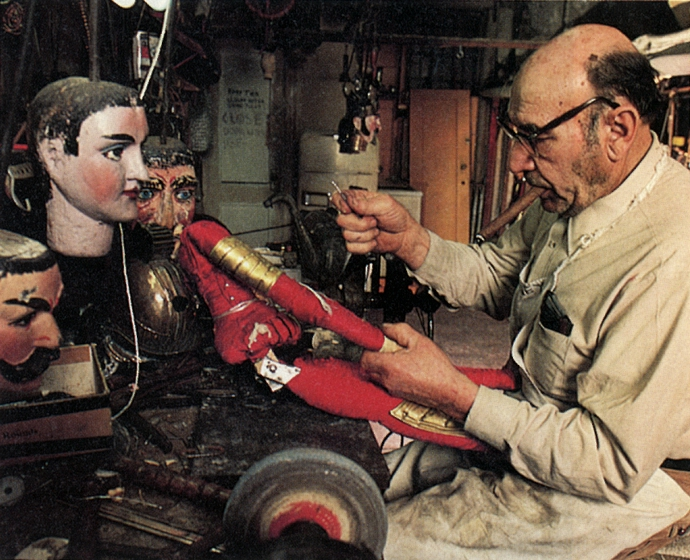 Miguel 'Mike' Manteo in his workshop, photograph by Martha Cooper/City Lore