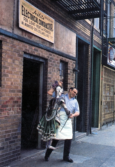 Miguel 'Mike' Manteo outside his marionette theater in New York City, photograph by Martha Cooper/City Lore