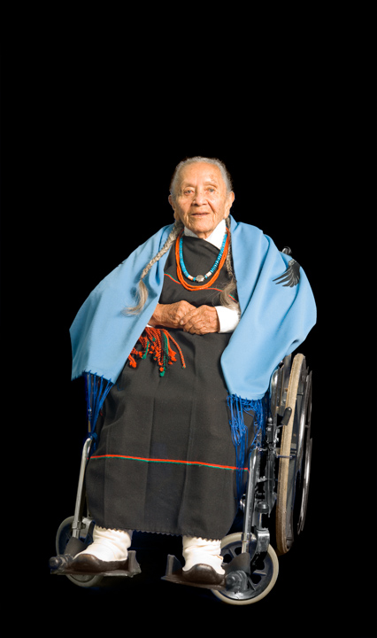 As a child, Esther Martinez was punished for speaking her native Tewa language at a government boarding school. Years later, she became involved in documenting and teaching the language and in telling stories in English to non-Tewa audiences. She often introduced herself by saying that she had been born in 1912, the year New Mexico became a state and the Titanic sank. Bethesda, Maryland, 2006, photograph by Alan Govenar