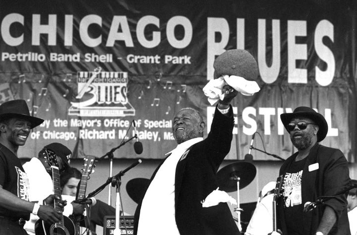 Brownie McGhee, Chicago Blues Festival, 1995, photograph by Jack Vartoogian