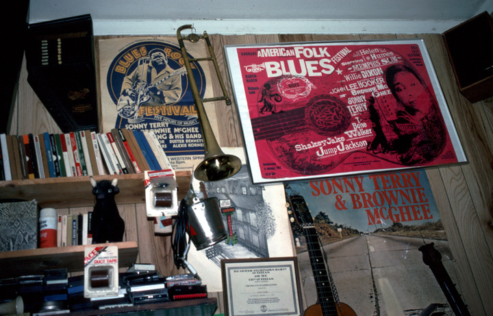Brownie McGhee's music room in his home in Oakland, California, 1990, photograph by Alan Govenar
