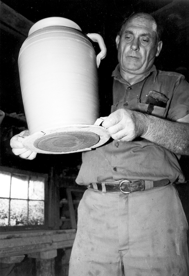 Lanier Meaders at Meaders Pottery, Mossy Creek, Georgia, photograph by John Burrison, courtesy National Endowment for the Arts