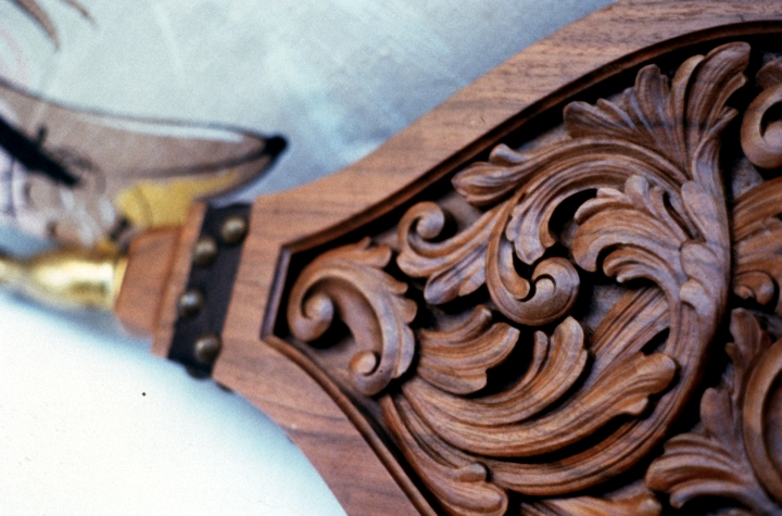 Detail of scrollwork on Italianate walnut bellows by Leif Melgaard, Minneapolis, Minnesota, 1987, photograph by Phil Nusbaum, courtesy Minnesota State Arts Board