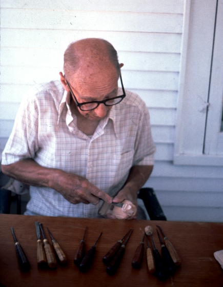 Leif Melgaard at work,  photograph by Phil Nusbaum, 1987, courtesy Minnesota State Arts Board