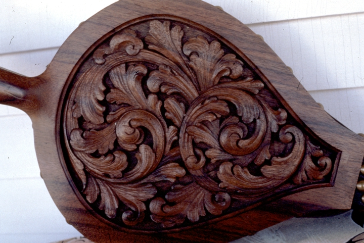 Walnut acanthus bellows (detail) by Leif Melgaard,  photograph by Phil Nusbaum, 1987, courtesy Minnesota State Arts Board