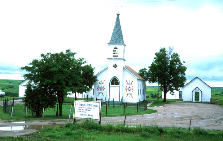 Church, Rosebud, South Dakota. Churches were among institutions that introduced Anglo-American needlework skills to Native women. Photograph by Marsha MacDowell, courtesy Michigan Traditional Arts Program, Michigan State University Museum
