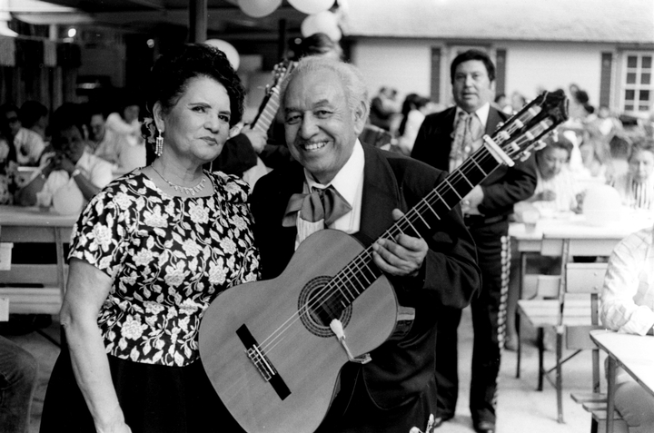 Lydia Mendoza and Joe Morante, 1986, photograph by Chris Strachwitz/Arhoolie Records