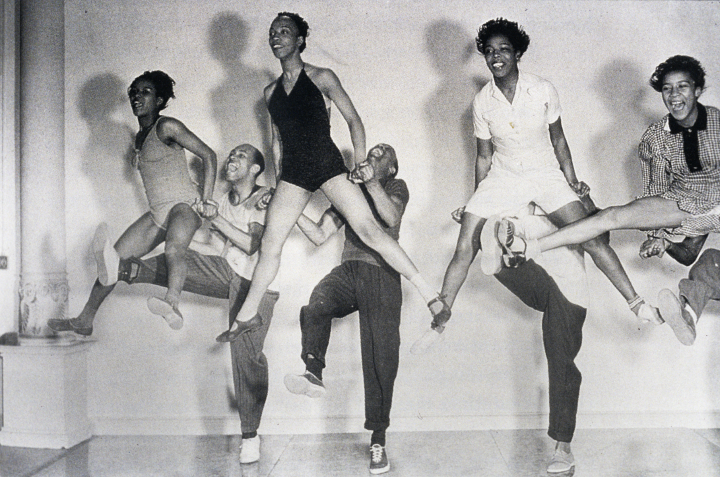 From left: Mickey Sayles, William Downes, Norma Miller, Billy Ricker, Willamae Ricker, Al Minns,  Ann Johnson and Frankie Manning  rehearsing on the *Hellzapoppin'* set at Universal Studios in 1941,  courtesy Norma Miller