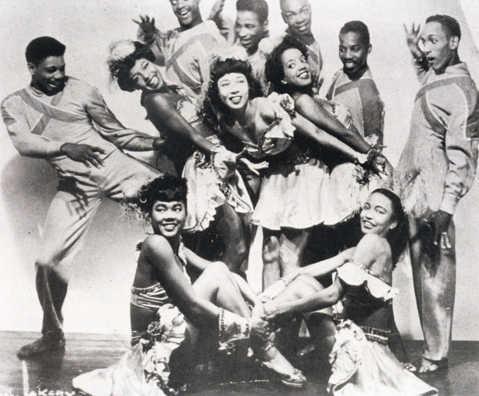 The original Norma Miller Dancers, ca. 1953. Back, from left: Joe Noble, Frank Kilabrew and Billy Dotson; middle: Curtis, Geri Gray, 'Pudgi', Priscilla Rishad, Scotty and Raymond Scott; front: Leona Laviscont and Barbara Taylor, courtesy Norma Miller