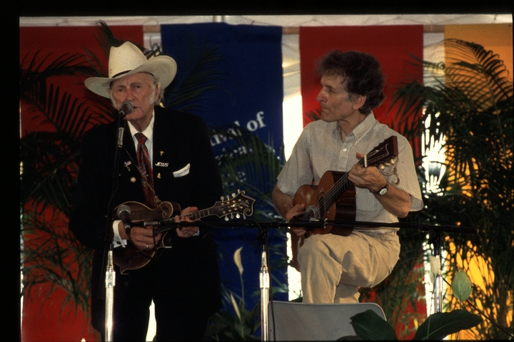 Bill Monroe and Mike Seeger, 1994 Festival of American Folklife, Bill Monroe, Courtesy Ralph Rinzler Folklife Archives and Collections, Center for Folklife and Cultural Heritage, Smithsonian Institution