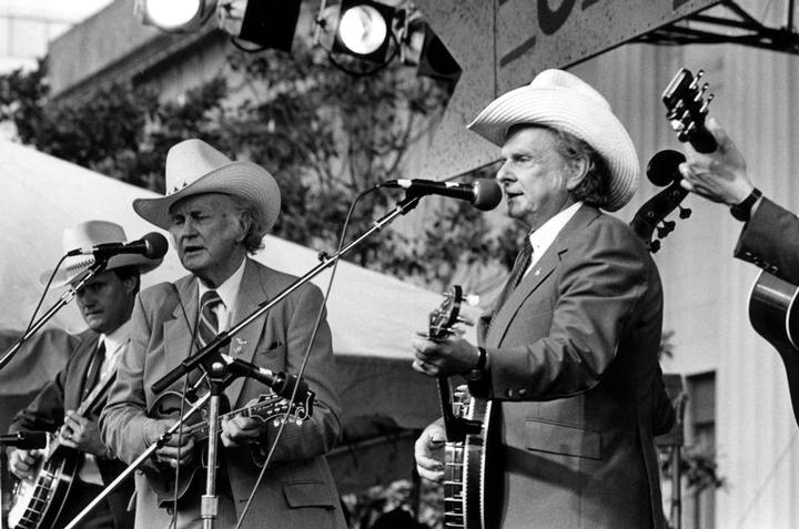 Bill Monroe and Ralph Stanley at the 'Legends of Bluegrass' concert, May 29, 1986, photograph by Robert Cogswell, courtesy Tennessee Arts Commission