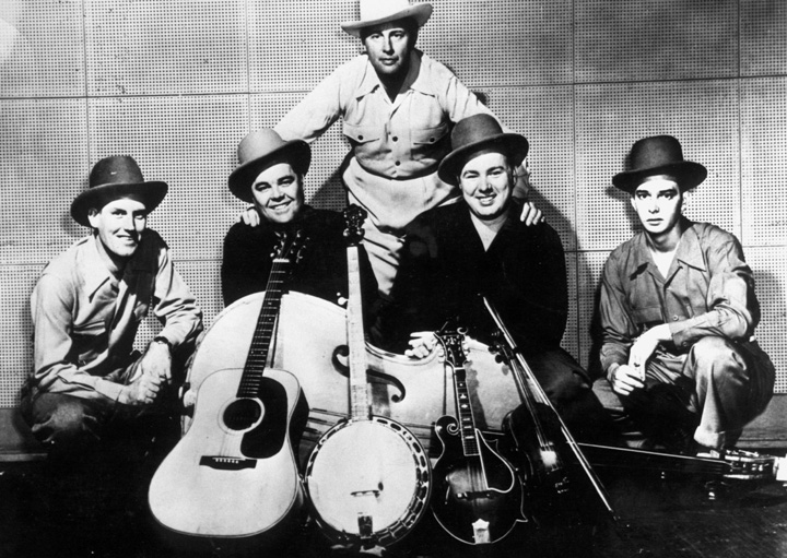 Bill Monroe and his Blue Grass Boys (left to right): Jack Thompson, Chubby Wise, Bill Monroe, Mac Wiseman, Rudy Lyle, 1949, courtesy Smithsonian Institution and Country Music Foundation Library Media Center, Nashville, Tennessee