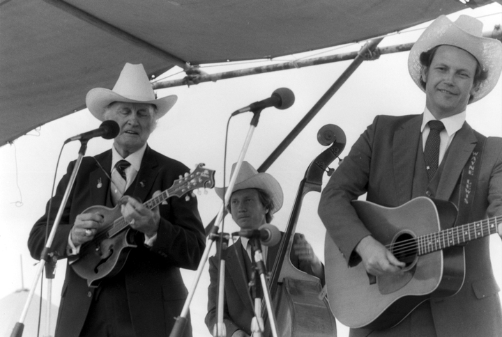 Bill Monroe and his Blue Grass Boys, New Orleans Jazz and Heritage Festival, 1985, photograph by Chris Strachwitz/Arhoolie Records