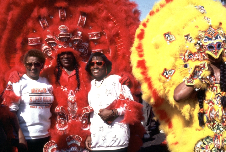 Allison 'Tootie' Montana (center), Mardi Gras, New Orleans, Louisiana, Photograph by Michael P. Smith