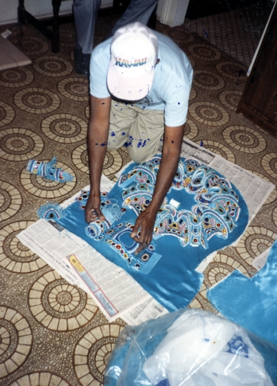Allison 'Tootie' Montana at work on a Mardi Gras Indian suit, New Orleans, Louisiana, 1991, Courtesy Joyce Montana