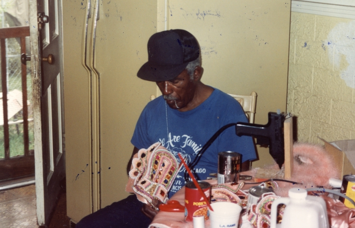 Allison 'Tootie' Montana at work on a 'suit', New Orleans, Louisiana, 1992, Courtesy Joyce Montana