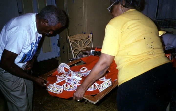 Allison 'Tootie' Montana and his wife, Joyce, working on a Mardi Gras Indian suit, Mardi Gras, New Orleans, Louisiana, 1996, Courtesy Joyce Montana