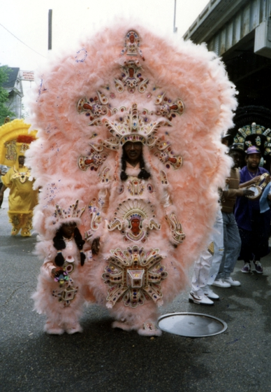 Allison 'Tootie' Montana and his grandson Chantz Stevenson, Mardi Gras, New Orleans, Louisiana, 1992, Courtesy Joyce Montana