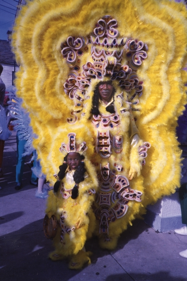 Allison 'Tootie' Montana and his grandson, Chantz Stevenson, Mardi Gras, New Orleans, Louisiana, 1993, Courtesy Joyce Montana