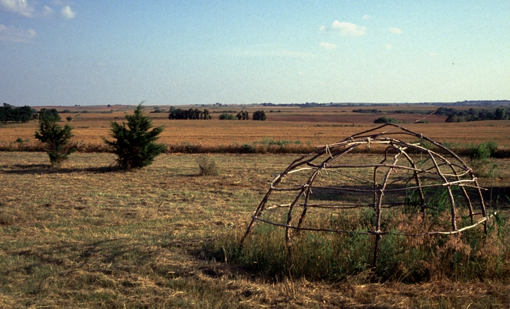 Sweat lodge frame near the home of Vanessa Paukeigope Morgan (now Jennings), Fort Cobb, Oklahoma, 1994, photograph by Georgetta Stonefish, courtesy Fred Nahwooksy