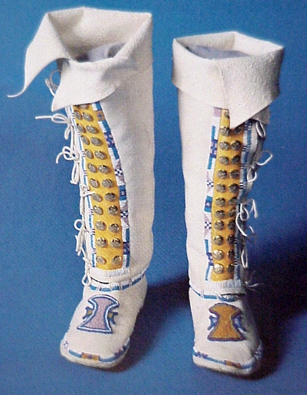 Hand-crafted boots by Vanessa Paukeigope Morgan (now Jennings), Courtesy National Endowment for the Arts