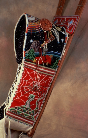 Cradleboard with hand-crafted beadwork by Vanessa Paukeigope Morgan (now Jennings), courtesy Fred Nahwooksy