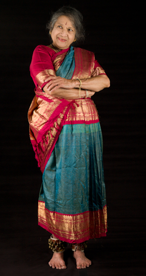 Kamala Lakshmi Narayanan demonstrates *Hasya* (mirth or laughter), one of the nine *rasas* (emotions) known as the *navarasas* in Bharatanatyam (classical dance of South India). Bethesda, Maryland, September 24, 2010, photograph by Alan Govenar