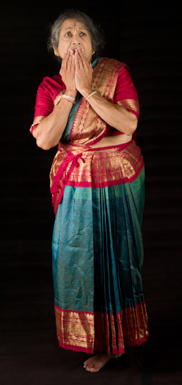 Kamala Lakshmi Narayanan demonstrates *Bhayanaka* (fear or horror), one of the nine *rasas* (emotions) known as the *navarasas* in Bharatanatyam (classical dance of South India). Bethesda, Maryland, September 24, 2010, photograph by Alan Govenar