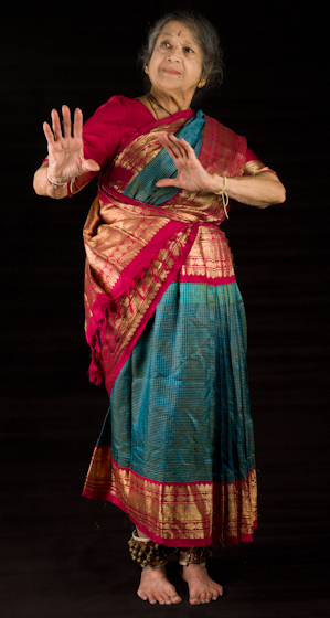 Kamala Lakshmi Narayanan demonstrates *Vibhatsa* (disgust or scorn), one of the nine *rasas* (emotions) known as the *navarasas* in Bharatanatyam (classical dance of South India). Bethesda, Maryland, September 24, 2010, photograph by Alan Govenar