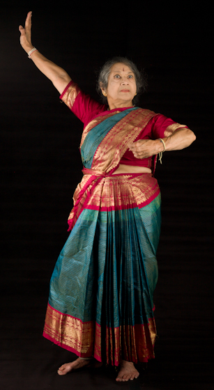 Kamala Lakshmi Narayanan demonstrates *Raudra* (anger or fury), one of the nine *rasas* (emotions) known as the *navarasas* in Bharatanatyam (classical dance of South India). Bethesda, Maryland, September 24, 2010, photograph by Alan Govenar