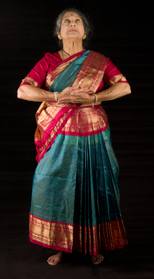 Kamala Lakshmi Narayanan demonstrates *Shanta* (peace), one of the nine *rasas* (emotions) known as the *navarasas* in Bharatanatyam (classical dance of South India). Bethesda, Maryland, September 24, 2010, photograph by Alan Govenar