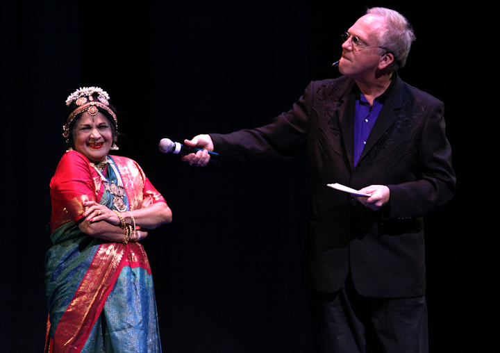 Kamala Lakshmi Narayanan and Nicholas R. Spitzer, 2010 National Heritage Fellowship Concert, Bethesda, Maryland, photograph by Michael G. Stewart
