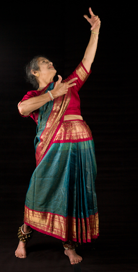 Kamala Lakshmi Narayanan demonstrates *Shringara* (love), one of the nine *rasas* (emotions) known as the *navarasas* in Bharatanatyam (classical dance of South India). Bethesda, Maryland, September 24, 2010, photograph by Alan Govenar
