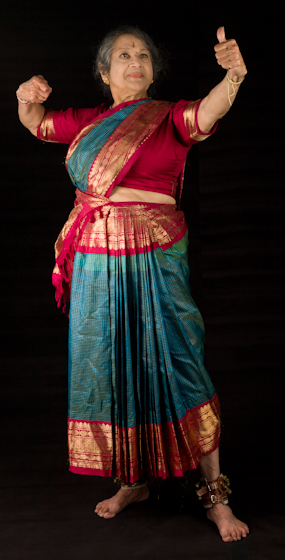 Kamala Lakshmi Narayanan demonstrates *Veera* (valor or courage), one of the nine *rasas* (emotions) known as the *navarasas* in Bharatanatyam (classical dance of South India). Bethesda, Maryland, September 24, 2010, photograph by Alan Govenar