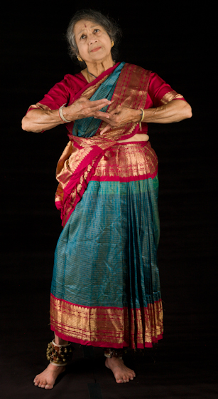 Kamala Lakshmi Narayanan demonstrates *Karuna* (compassion or kindness), one of the nine *rasas* (emotions) known as the *navarasas* in Bharatanatyam (classical dance of South India). Bethesda, Maryland, September 24, 2010, photograph by Alan Govenar