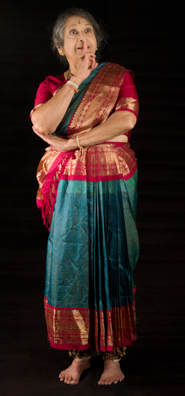 Kamala Lakshmi Narayanan demonstrates *Adbhuta* (amazement or wonder), one of the nine *rasas* (emotions) known as the *navarasas* in Bharatanatyam (classical dance of South India). Bethesda, Maryland, September 24, 2010, photograph by Alan Govenar